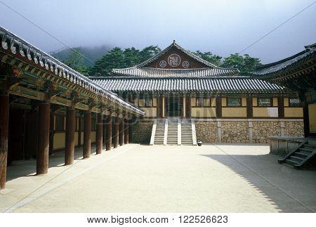 GYEONGJU CITY, NORTH GYEONGSANG PROVINCE / KOREA - CIRCA 1987:  Bulguksa, on the slopes of mount Toham, is the head temple of the Jogye Order of Korean Buddhism.