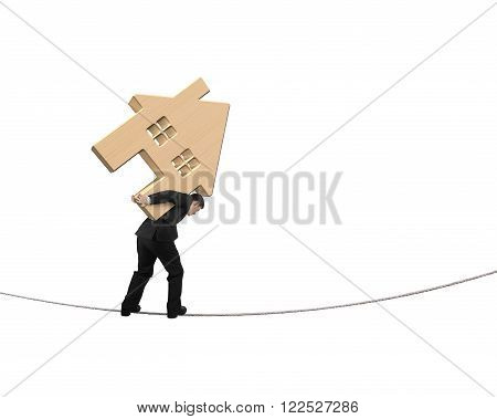 Man carrying wooden house and balancing on tightrope isolated on white background.