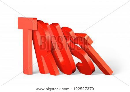 Red trust word of dominoes falling on white background.