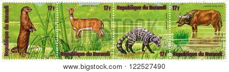 Burundi - Circa 1976: A Stamp Printed By Burundi Shows A Series Of Images