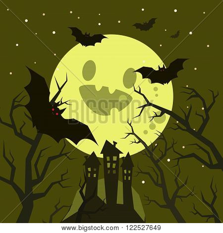 Halloween illustration. Bats flying in the night with a full moon on dark green background.