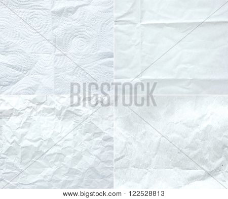 Collection Of White Wrinkle Paper, Texture Background,four Style Of Crumple Paper