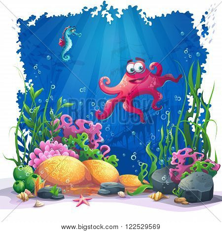Beautiful octopus coral and colorful reefs and algae on sand. Vector illustration of sea landscape