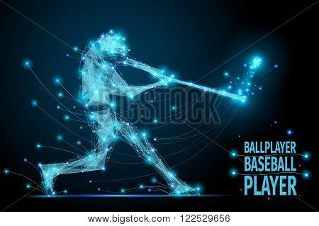 Polygonal ballplayer in motion from flying debris. Bacseball abstract concept vector mesh spheres. Futuristic technology style.