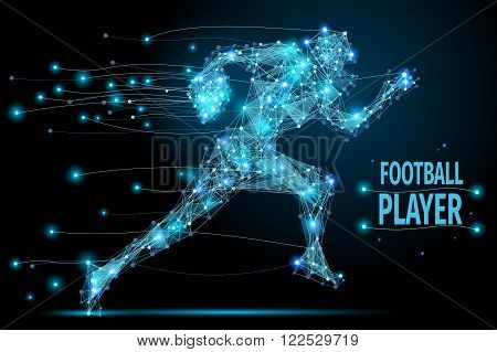 Abstract running footballer with cybernetic particles. Polygonal digital background. Point and curve constructed the football player silhouette wireframe.