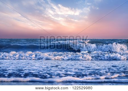 Beautiful sky over the ocean or sea at sunset