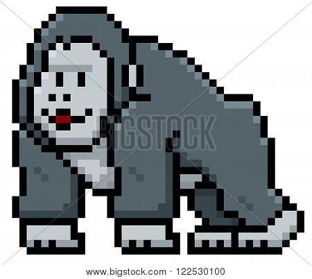 Vector illustration of Gorilla Cartoon - Pixel style