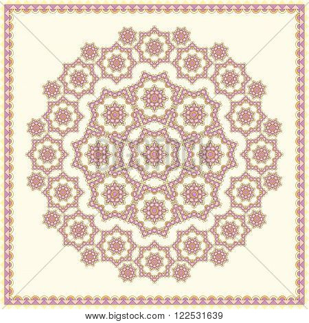 Oriental ornament in soft tones. Pattern in square for shawl, blanket, pillow, etc. Background vector illustration 10 EPS