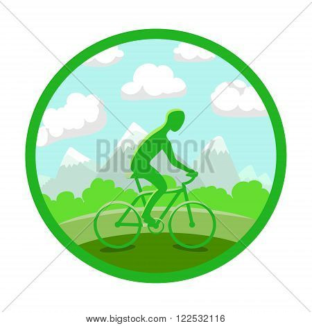 Man on bike silhouette. Green landscape background. Colored sign, circle icon. Vector illustration.