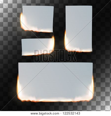 Burning paper set. Sheet of paper in flame on transparent background. Rectangular and square shapes. Vector illustration.