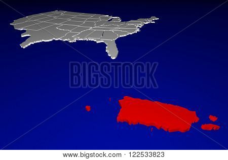 Puerto Rico PR Territory United States of America 3d Animated State Map