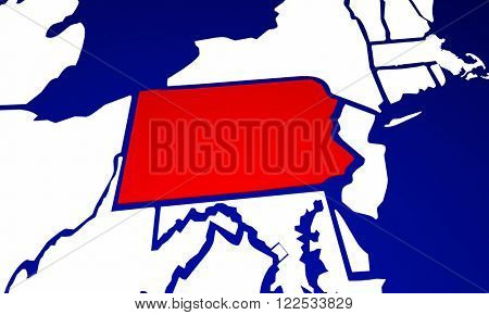 Pennsylvania PA State United States of America 3d Animated State Map