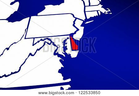 Delaware DE State United States of America 3d Animated State Map