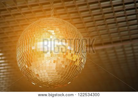 Shined Disco Mirror Ball Over The Dance Floor