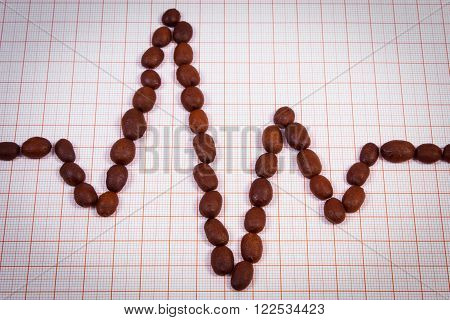 Electrocardiogram line of brown roasted coffee grains on graph paper ecg heart rhythm medicine and healthcare concept