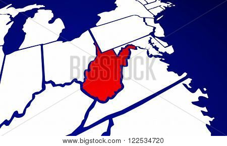 West Virginia WV State United States of America 3d Animated State Map