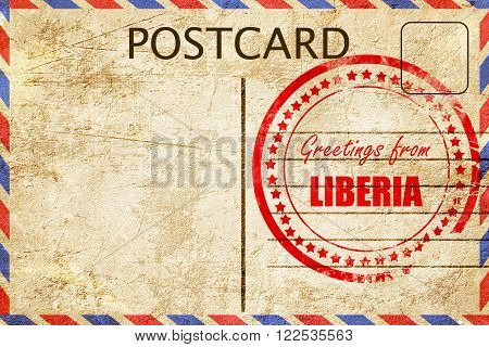 Greetings from liberia card with some soft highlights