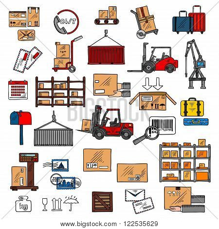 Storage and shipping icons with storage racks, forklift and hand trucks, crane and calendar,  scales and conveyor with packages and letters, barcode and packaging signs, mailbox and hands with box