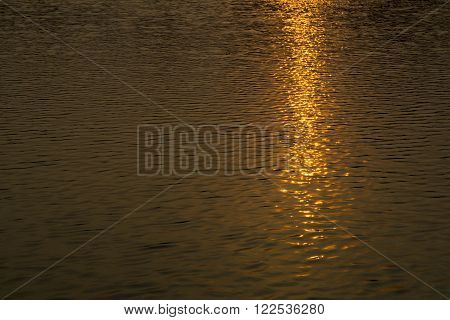 The reflex of sunset in water as background