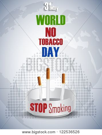 Illustration of Ashtray with cigarettes for 31st May world No tobacco day