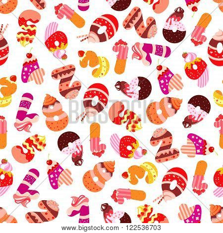 Sweet numbers seamless pattern with digits composed of tiered cakes and fruity desserts, chocolate cookies adorned by cream and fruits. Childish room interior or birthday celebration design