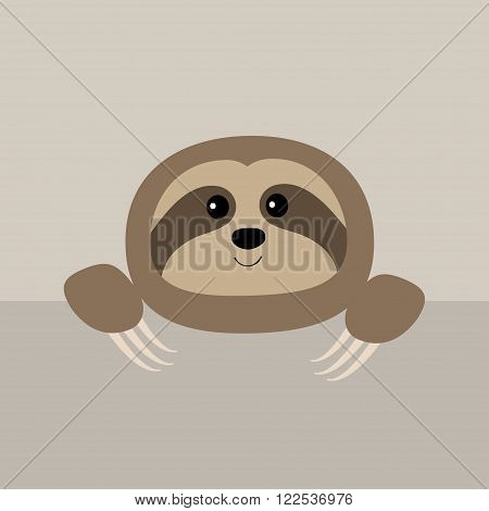 Sloth face and hands. Cute cartoon character. Tree branch Wild joungle animal collection. Baby education. Isolated. White background. Flat design Vector illustration