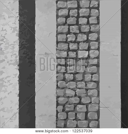 Narrow pavement road vector texture or background