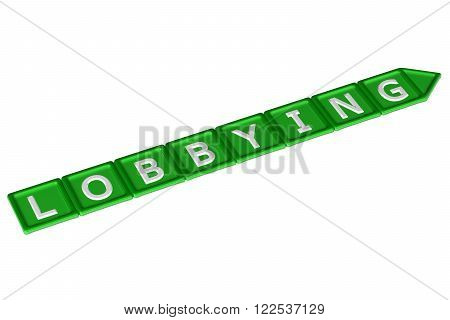 Blocks with word lobbying isolated on white background. 3D render.