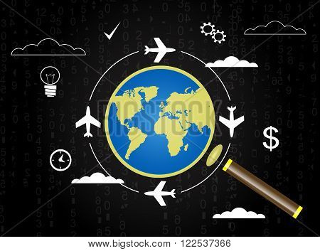 Search convenient flight planning air travel vacation concept modern backround with magnifier and globe. Vector