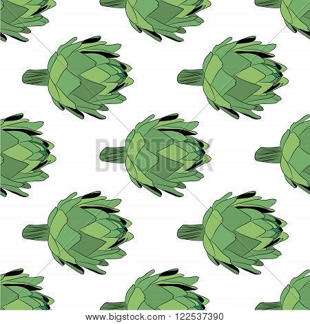 vector  illustration of artichoke, organic vegan background, healthy food seamless pattern eps 10