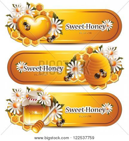 Trendy Honey Banners with Working Bees, Flowers, Honeycombs, Hive, Honey Heart and Jar with Wooden Stick