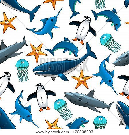 Sea animals and birds pattern with big whales and grey reef sharks, atlantic dolphins and penguins, starfish, marlins and blue jellyfishes.