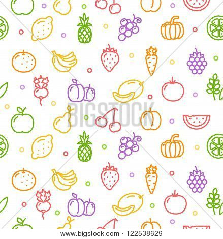 Fruits and Vegetables Colorful Background Pattern. Vector illustration