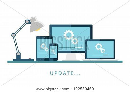 Desktop computer, laptop, tablet and smartphone with update screen. Update process. Install new software, operating system, update support. Vector illustration.