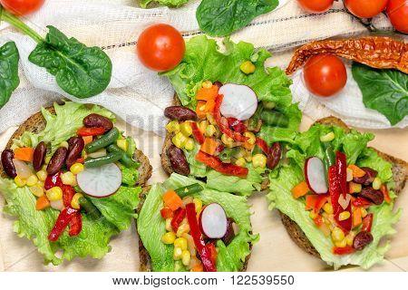 Eating healthy food - Vegetarian food (vegetarian sandwich) on table
