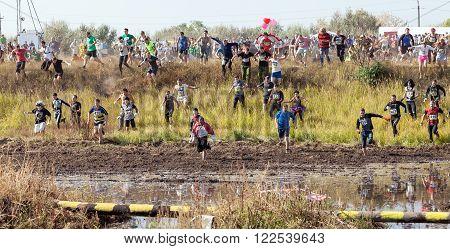 Togliatti, Russia  - September 26: International Extreme Marathon 'Hryaschevka Challenge' 2015