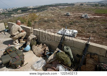 TYR, LEBANON-OCTOBER 18, 2006 :Unidentified UN soldier on patrol on October 18, 2006 in Tyr, Lebanon.