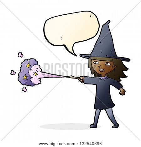 cartoon witch girl casting spell with speech bubble