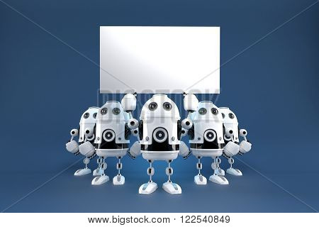Group of robots with blank board. 3d illustration. Contains clipping path