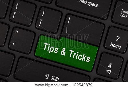 Black Conceptual Keyboard - Tips And Tricks (green Key)