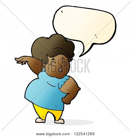 cartoon happy overweight lady with speech bubble