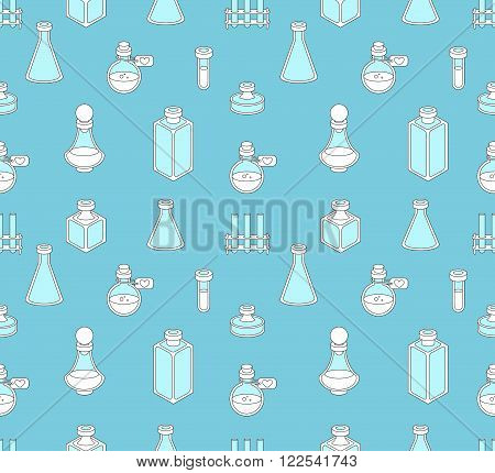 Seamless pattern with apothecary and medical beakers laboratory flasks