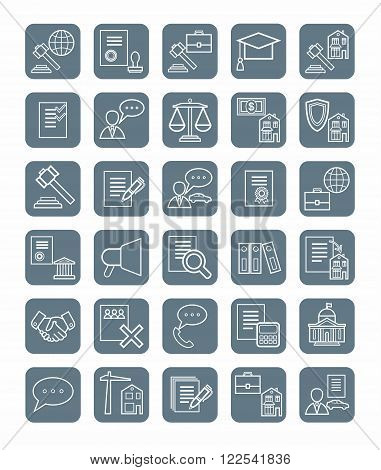 Vector icons of legal services. Linear, flat, white icons on a gray background.