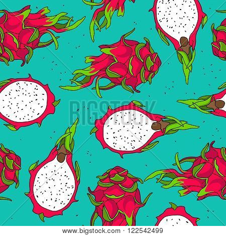 Seamless pattern of dragon fruit on a blue background.