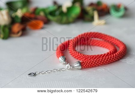 Handmade Beaded Necklace Red Color Close Up