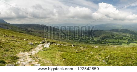 Beautiful large panorama landscape of Snowdonia National Park from Cadair Idris