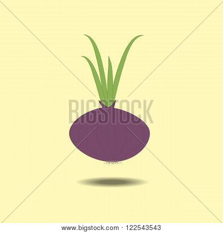 Red onion with fresh green sprout isolated on yellow background. Vector illustration.