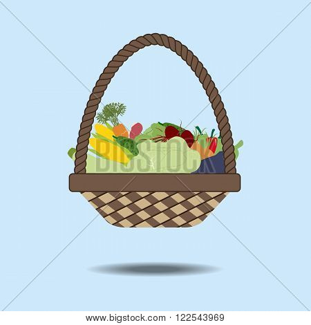 Basket with vegetables. Cabbage radish cucumber pepper squash zucchini eggplant carrot beet corn. Vector illustration