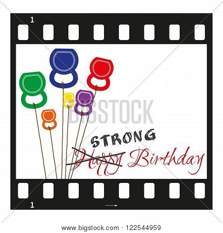 Vector Birthday card with filmstrip and kettlebells like a balloons