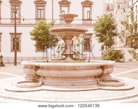 Piermarini Fountain, Milan Vintage